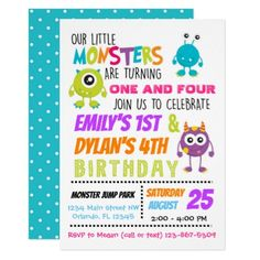 Our Little Monsters Joint Birthday Party Invite - kids birthday gift idea anniversary jubilee presents Combined Birthday Parties, Sibling Birthday Parties, Joint Birthday Parties, Girls Birthday Party Themes, Monster Birthday Parties, Boy Birthday, Birthday Ideas, Birthday Cakes, Sunshine Birthday