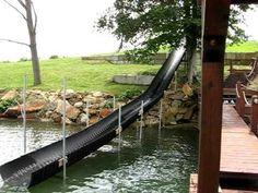 homemade waterslide in nc Lake Landscaping, Diy Slides, Backyard Playground, Backyard Slide, Lakeside Living, Pond Life, Lake Water, Lake Cabins, River House
