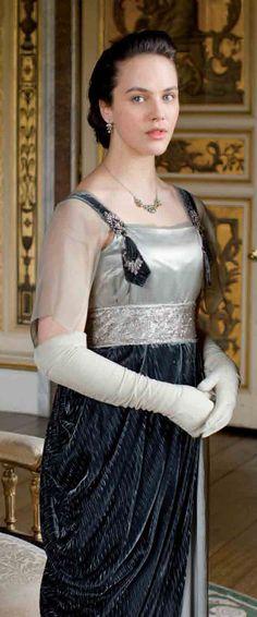 Downton Abbey, Sybil's dress has  gorgeous textures working together- velvet, organza, silky satin