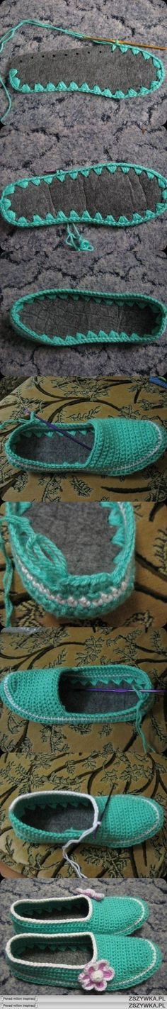 "crochet slippers, I have to try these!!! I know a little Bug that may love them..... [ ""Crocheted slippers with a thick felt sole."", ""Great visual tutorial for slipper/shoes with felt soles."", ""kapcie na DIY - Zszywka."", ""Pantuflas crochet - Very cool! Love this idea"", ""DIY crochet slippers, previous Pinner said \""I have to try these! I know a little Bug that may love them."", ""Crochet slipper with an insole - I like this idea because my feet always hurt when I wear crochet soles.""..."