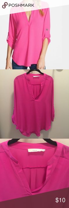 LUSH vneck blouse LUSH hot pink vneck blouse. Three quarter length sleeves with one button. Purchased from Nordstrom. Lush Tops Blouses