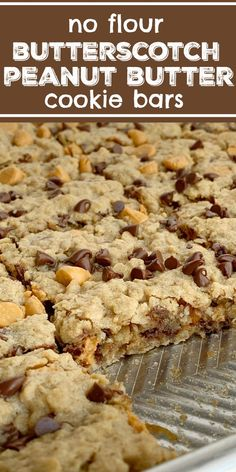 Chewy Butterscotch Peanut Butter Cookie Bars Cookie Bar Recipe No Flour Flourless Chewy butterscotch peanut butter cookie bars have no flour! Hearty, chewy, soft baked, and loaded with chocola is part of Peanut butter cookie bars - Cake Mix Cookie Recipes, Best Cookie Recipes, Sweet Recipes, Baking Recipes, Bar Recipes, Recipes Dinner, Potato Recipes, Pasta Recipes, Crockpot Recipes