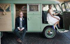 Mint Green VW Bus Wedding Pic