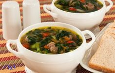 Meatball soup and spinach