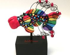 Fish Figurine Sculpture Collectible and Cute Rainbow Made to Order FS0020