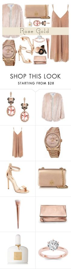 """""""rose gold love (Winner of Official Contest Oh so pretty: Rose Gold Jewelry)"""" by sandralalala ❤ liked on Polyvore featuring Effy Jewelry, Sans Souci, Rolex, Topshop, Tory Burch, Banana Republic, Tom Ford and Nude by Nature"""