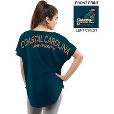 Wear For Fun Coastal Carolina University Women's Short Sleeve Cut-Off T-Shirt available at the Chanticleer Store