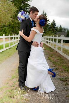 Beautiful wedding accented in blue  www.heathermayerphotography.com