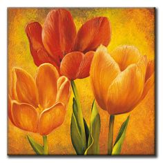 size: Stretched Canvas Print: Orange Tulips I by David Pedersen : Using advanced technology, we print the image directly onto canvas, stretch it onto support bars, and finish it with hand-painted edges and a protective coating. Tulip Painting, Painting Edges, Watercolor Flowers, Watercolor Art, Acrilic Paintings, Spring Art, Arte Floral, Easy Paintings, Stretched Canvas Prints