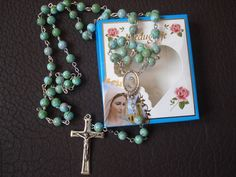 """MEDJUGORJE Rosary Catholic Rosaries  glass 20.5""""+Gift holy Card"""
