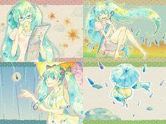 雨の日の初音ミクを四コマ風に描いた可愛いイラスト壁紙画像                                                                                                                                                                                 もっと見る