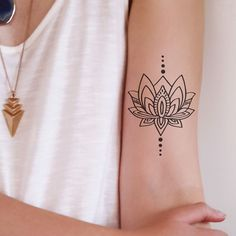 Lotus flower tattoo designs have a deep meaning. They not only stand for beauty and grace, but also for toughness and struggle. A lotus flower blooms in the mud Lotusblume Tattoo, Sun Tattoos, Symbol Tattoos, Piercing Tattoo, Love Tattoos, Unique Tattoos, Temporary Tattoos, Body Art Tattoos, Tattoos For Women