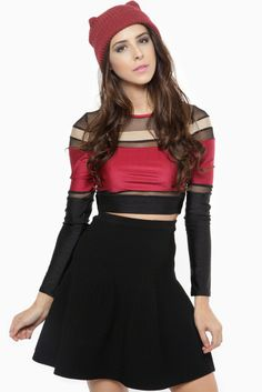 Gotta love a a crop top that will compliment your upper curves! It features a round neckline, contrast mesh cut outs, long sleeves, and multi contrast color combination. Throw on your favorite high waist full skirt for a chic casual flirty look!   www.cicihot.com #outfit #croptop #skirt #colorful #chic #fashion #fashionlover #girlslike