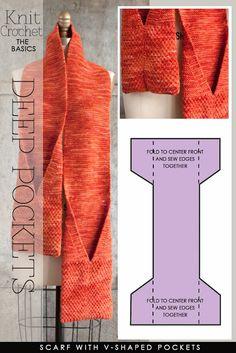 Scarf with V-shaped pockets - Pocket scarves yo knit and crochet Crochet Scarves, Crochet Shawl, Knit Crochet, Knit Cowl, Hand Crochet, Knitting Scarves, Crochet Geek, Crochet Things, Crochet Granny