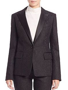 DKNY Lace Tuxedo Jacket - Black - Size 8
