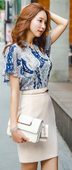 Fashionable work outfits for women 2017 048 - Fashionetter Casual Work Outfits, Work Casual, Cute Outfits, Asian Fashion, Work Fashion, Fashion Outfits, Womens Fashion, Vestidos Chiffon, Summer Work Dresses