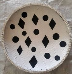 Wall hanging african basket/Black white Africa baskets  – African Baskets - round ungo Baskets – African Wall Basket - Home Decor- Baskets-