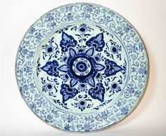 17th/18thC chinois kangxi period blue & blanc porcelaine chargeur plaque. Osellame's Collection.