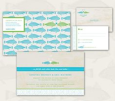 Wedding Invitation... Feel for Each Other Hook, Line and Sinker. Fish theme. Outdoor theme. #wedding invitation $250.00