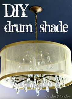Dimples and Tangles: DIY Drum Shade {Tutorial} over a crystal chandelier Decor, Diy Chandelier, Diy Outdoor Lighting, Diy Drum Shade, Outdoor Lighting Design, Diy Decor, Diy Shades, Diy Drums, Hoop Light