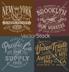 Vintage workwear graphics set vector on VectorStock&reg