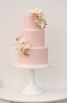 From baby pink to blush, ruffles to roses, buttercream to blooms and dots to donuts we& rounded up 50 of the Prettiest Pink Wedding Cakes for you to swoon . Floral Wedding Cakes, Cool Wedding Cakes, Beautiful Wedding Cakes, Wedding Cake Designs, Beautiful Cakes, Blush Pink Wedding Cake, Gold Wedding, Flowers On Wedding Cake, Butterfly Wedding Cake