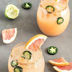 Spicy Grapefruit Jalapeño Margarita Recipe Beverages, Cocktails with tequila, grapefruit juice, fresh lime juice, agave nectar, jalapeno chilies, ice, chili powder, kosher salt, lime wedges, grapefruit, jalapeno chilies