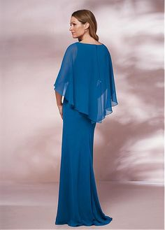 2761a6e41cd  130.99  Fantastic Chiffon Bateau Neckline Capelet-sleeves Sheath Column Mother  Of The Bride Dresses With Beadings