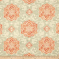 Waverly Spring Spotlight Twill Nectar from @fabricdotcom  Screen printed on cotton twill; this versatile lightweight fabric is perfect for window treatments (draperies, valances, curtains and swags), toss pillows, duvet covers, some upholstery and other home decor accents. Create handbags, apparel (skirts, lightweight jackets, pants) and aprons. Colors include sage, orange and cream. This fabric has 42,000 double rubs.