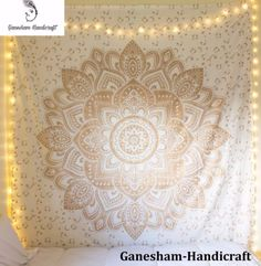 e6dadf5380 Product Details: Gold mandala print Can be used as tapestry wall hanging,  bed cover, table cover, beach mat or yoga mat Made from Cotton and  Polyester Size ...
