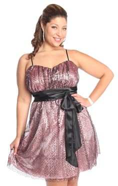 plus size sequin tie waist fit and flare homecoming dress