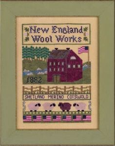 Elizabeth's Designs New England Wool Works - Cross Stitch Pattern. Model stitched on 30 Ct. Cappuccino by Weeks Dye Works with DMC floss, $7.19 for pattern