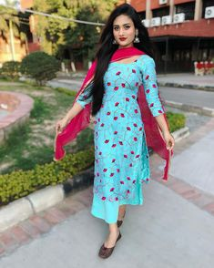 Image may contain: 1 person, standing Stylish Dress Designs, Dress Neck Designs, Designs For Dresses, Stylish Dresses, Desi Wedding Dresses, Party Wear Dresses, Dress Outfits, Fashion Dresses, Patiala Suit Designs