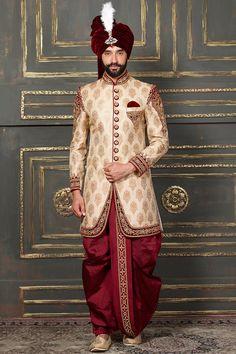 Groom Dhoti Indo Western Sherwani in Cream Color Sherwani For Men Wedding, Wedding Dresses Men Indian, Wedding Outfits For Groom, Wedding Dress Men, Bridal Outfits, Wedding Men, Punjabi Wedding, Wedding Ideas, Indian Weddings