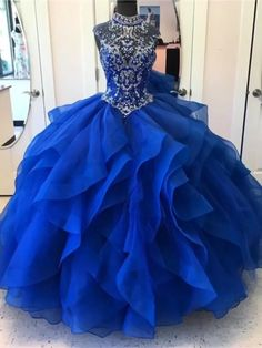 Royal Blue Ball Gown High Neck Rhinestone Beaded Long Evening Prom Dresses, 17689 - Source by sissyhohler gowns blue Royal Blue Prom Dresses, Blue Ball Gowns, Ball Gowns Prom, Ball Dresses, Blue Quinceanera Dresses, Princess Dresses, Evening Dresses, Dresses Dresses, Long Dresses