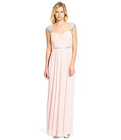 Adrianna Papell Sequined CapSleeve Gown #Dillards