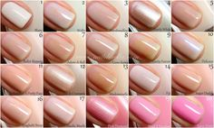Essie color guide #1 from Nailderella - pinks