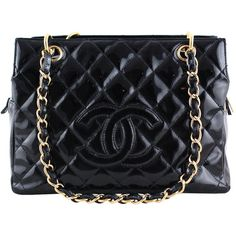 Pre-Owned Chanel Black Patent Quilted Timeless Shopper Tote Bag ($1,799) ❤ liked on Polyvore featuring bags, handbags, tote bags, black, bolsas, chain strap purse, pocket tote, quilted purse, patent leather purse and pocket tote bag
