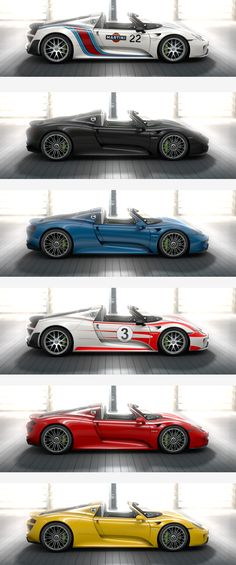 #918Spyder customers can choose from 12 colours and 3 exterior films. Which one is your favourite from this selection? *Combined fuel consumption in accordance with EU 5: 3.3-3.0 l/100 km, CO2 emissions 79-70 g/km. Electricity consumption 12.5-13.0 kWh/100 km.