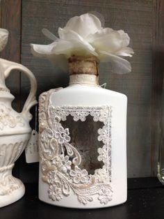 Beautiful Contentment. #glass #bottle #embellished #white