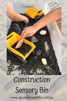 Construction Sensory Bin   Easy Play Ideas   Good Enough Life. Quick and easy sensory bin for all construction/dump truck/digger loving toddlers and kids! Keep them entertained for longer. Toddler Sensory Bins, Toddler Learning Activities, Toddler Play, Sensory Toys, Sensory Activities, Dried Black Beans, Toddler Themes, Mom Brain, Messy Play