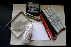 Splitcoaststampers - Tutorials alcohol markers with pencils. Gamsol.