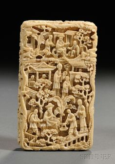 """Ivory Carte-de-visite, China, 19th century, rectangular, all sides finely carved in various reliefs and undercutting with figures in various attitudes in a city landscape, small """"E.P.P."""" oval plaque to the front, 3 3/4 x 2 1/8 in"""