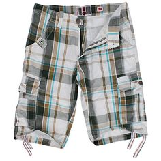QinYing Men's Cargo Plaid Shorts Summer Beachwear Coffee 38 >>> Be sure to check out this awesome product.