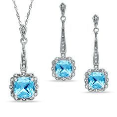 Cushion-Cut Blue Topaz Vintage Pendant and Earrings Set in Sterling Silver - Zales