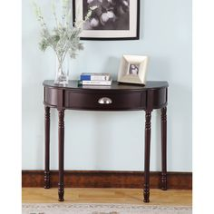 Merlot Finish Half-moon Console Table - Overstock™ Shopping - Great Deals on Coffee, Sofa & End Tables