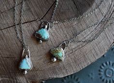 Turquoise Gypsy Necklaces  Freeform Turquoise and Solid Sterling Silver