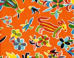 Animales on Orange Mexican Oilcloth sample