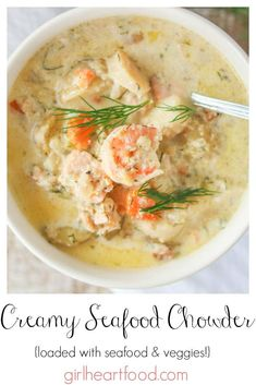The very best seafood chowder recipe, this creamy seafood chowder is loaded with plenty of seafood, veggies and dill. It's easy to prepare, comforting and totally delicious! Best Seafood Chowder Recipe, Seafood Soup Recipes, Seafood Stew, Seafood Appetizers, Chowder Recipes, Seafood Dishes, Fish Recipes, Shrimp Recipes, Fish Chowder