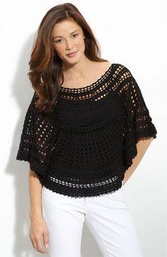 Fabulous Crochet a Little Black Crochet Dress Ideas. Georgeous Crochet a Little Black Crochet Dress Ideas. Mode Crochet, Easy Crochet, Crochet Lace, Crochet Tops, Crochet Poncho Patterns, Crochet Shawls And Wraps, Crochet Shirt, Crochet Cardigan, Black Crochet Dress